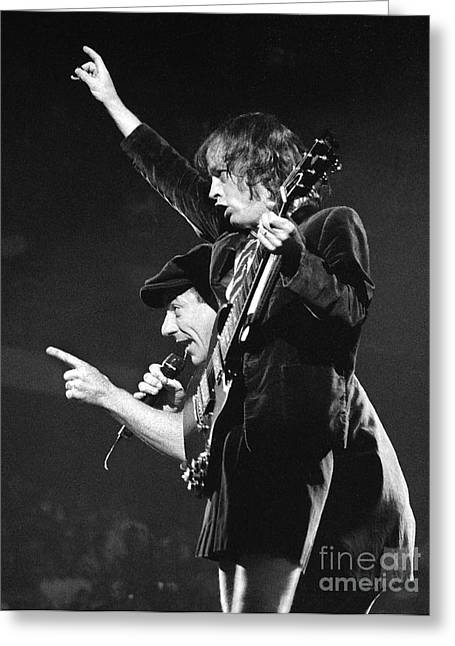 Malcolm Young Greeting Cards - ACDC-96-Angus-Brian-0116 Greeting Card by Timothy Bischoff