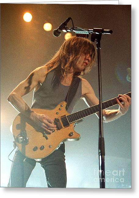 Malcolm Young Greeting Cards - ACDC-96-Malcolm-0127 Greeting Card by Timothy Bischoff