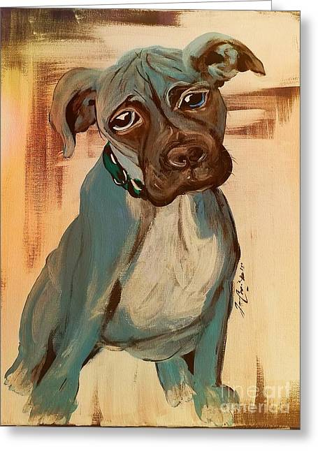 Boxer Abstract Art Greeting Cards - Ace Greeting Card by Jennifer Russell