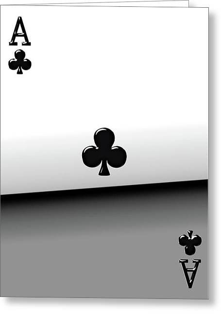 Playing Cards Greeting Cards - Ace of Clubs   Greeting Card by Serge Averbukh