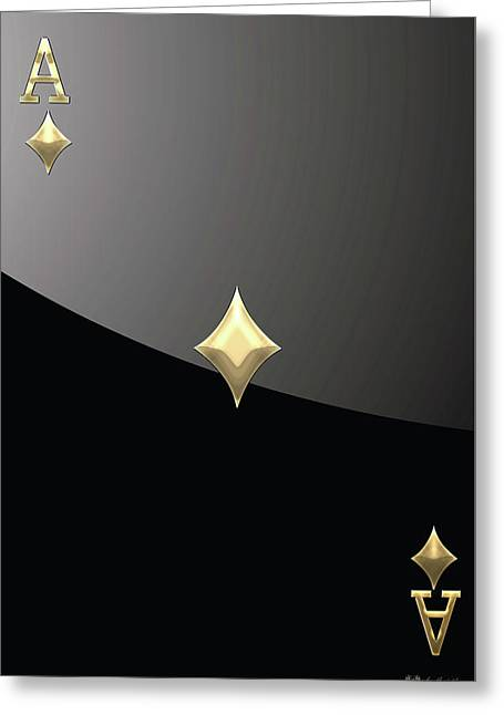 Playing Cards Greeting Cards - Ace of Diamonds in Gold on Black  Greeting Card by Serge Averbukh