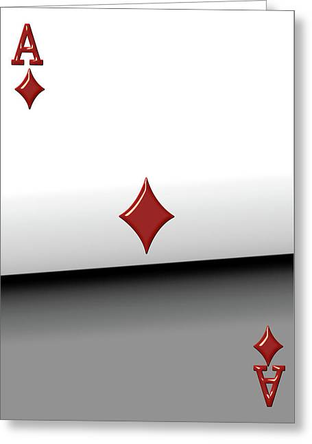 Playing Cards Greeting Cards - Ace of Diamonds   Greeting Card by Serge Averbukh