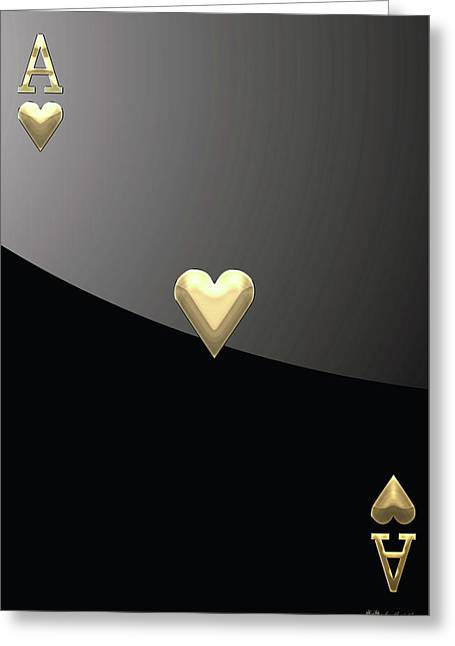 Playing Cards Greeting Cards - Ace of Hearts in Gold on Black Greeting Card by Serge Averbukh