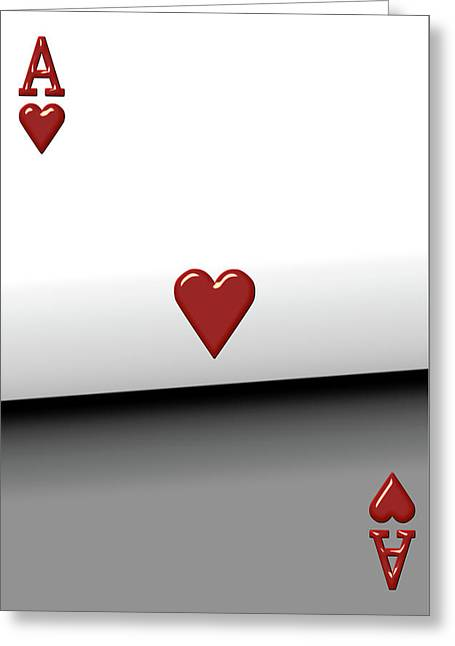 Playing Cards Greeting Cards - Ace of Hearts   Greeting Card by Serge Averbukh
