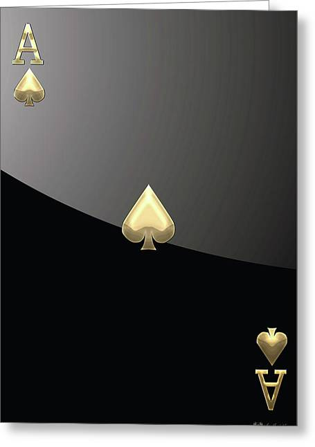 Playing Digital Greeting Cards - Ace of Spades in Gold on Black   Greeting Card by Serge Averbukh