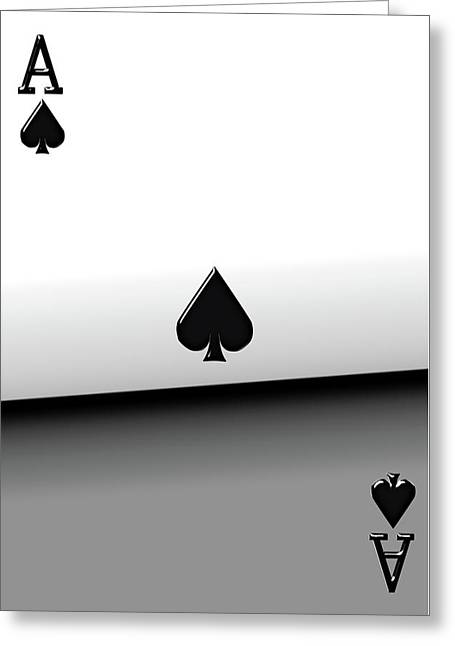 Playing Cards Greeting Cards - Ace of Spades   Greeting Card by Serge Averbukh