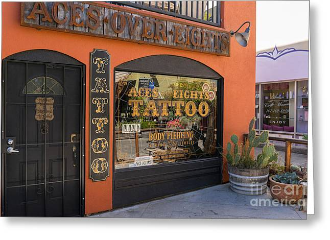 Body Piercing Greeting Cards - Aces Over Eights Tattoo Parlor Petaluma California USA DSC3858 Greeting Card by Wingsdomain Art and Photography