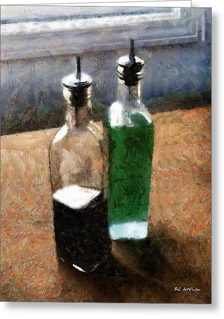 Vinegar Digital Greeting Cards - Aceto e Olio Greeting Card by RC deWinter