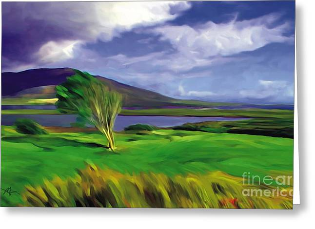 Rural Mixed Media Greeting Cards - Achill Island Ireland  sunny Greeting Card by Bob Salo
