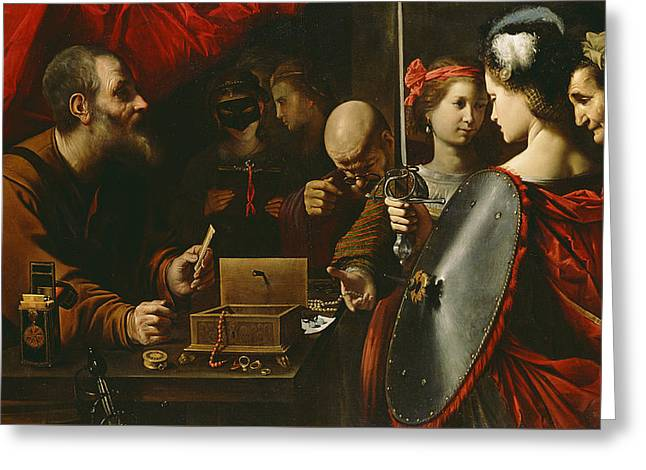 Tricks Greeting Cards - Achilles among the Daughters of Lycomedes Greeting Card by Pietro Paolini