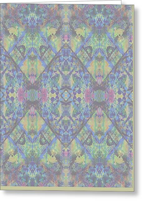 Green Geometry Art Greeting Cards - Acid Greeting Card by Beth Travers