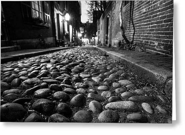 Acorn Street Cobblestone Detail Boston Ma Black And White Greeting Card by Toby McGuire