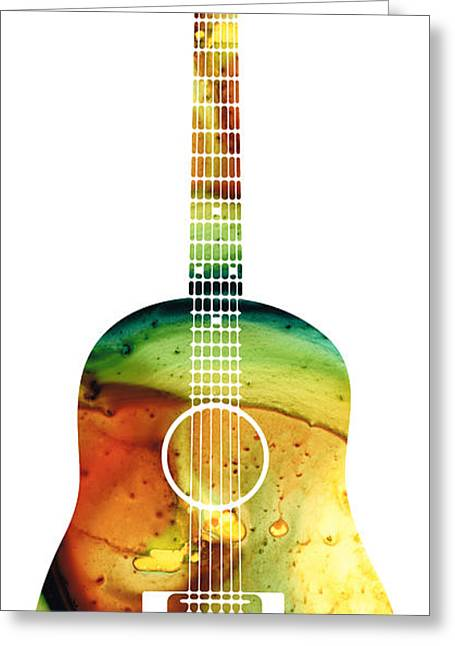 Country Western Greeting Cards - Acoustic Guitar - Colorful Abstract Musical Instrument Greeting Card by Sharon Cummings