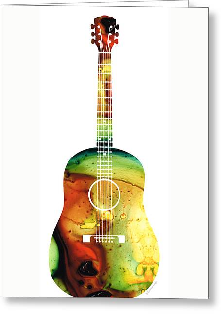 Acoustic Guitar - Colorful Abstract Musical Instrument Greeting Card by Sharon Cummings