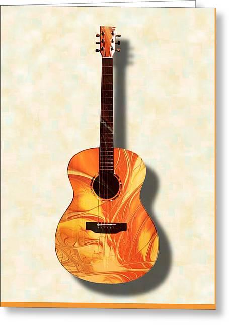 Blue Greeting Cards - Acoustic Guitar - Musical Instruments Greeting Card by Anastasiya Malakhova