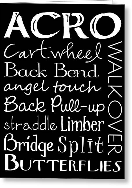 Dance Studio Greeting Cards - Acro Dance Subway Art Poster Greeting Card by Jaime Friedman