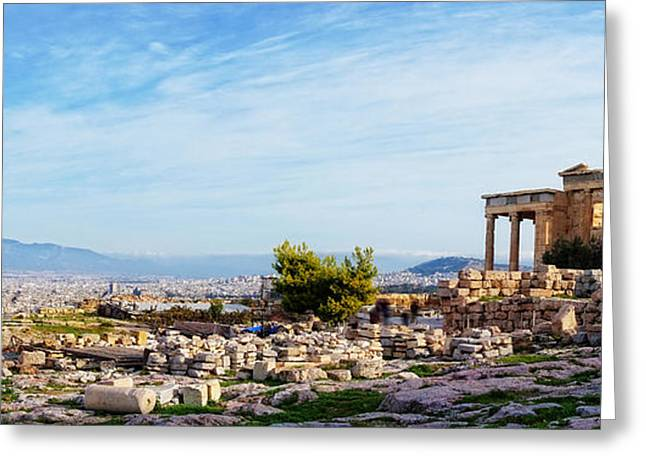 Acropolis Of Athens Panoramic Greeting Card by HD Connelly