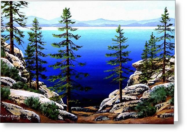 Frank Wilson Greeting Cards - Across Lake Tahoe Greeting Card by Frank Wilson