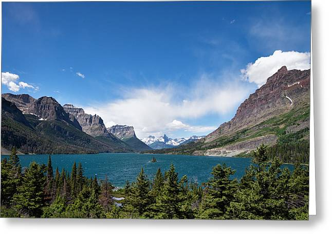 Mountain Road Greeting Cards - Across St Mary Greeting Card by Allan Van Gasbeck