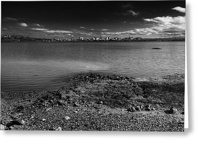 Maine Beach Greeting Cards - Across The Bay-BW Greeting Card by Mark Myhaver