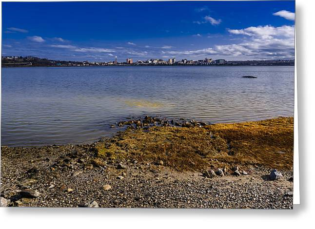 Maine Beach Greeting Cards - Across The Bay Greeting Card by Mark Myhaver