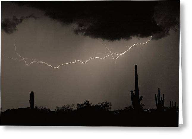 Photography Lightning Photographs Greeting Cards - Across the Desert - Sepia print Greeting Card by James BO  Insogna