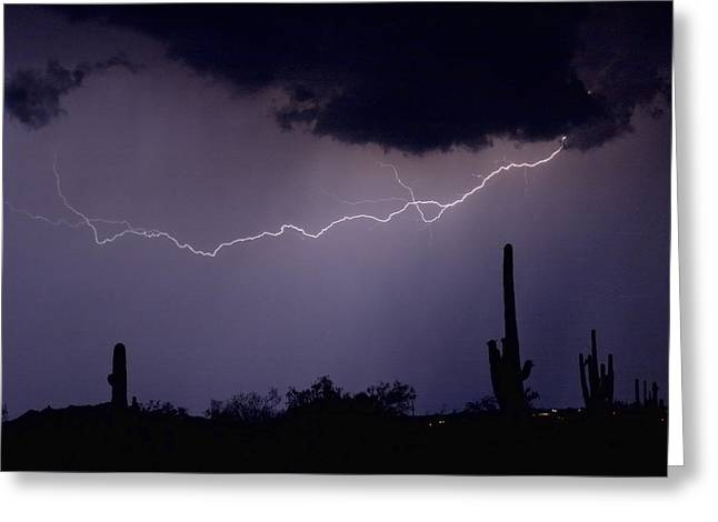 Photography Lightning Photographs Greeting Cards - Across the Desert Greeting Card by James BO  Insogna