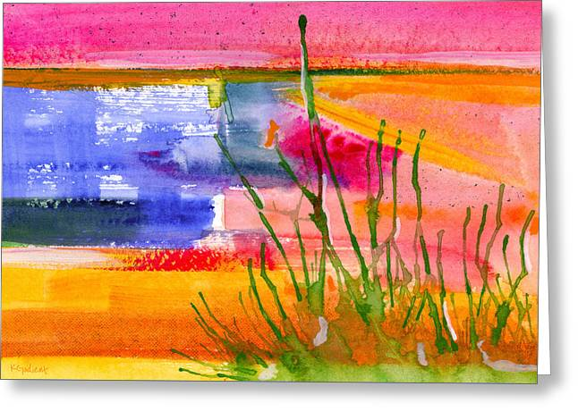 Sorbet Mixed Media Greeting Cards - Across the Garden Greeting Card by Karen Gadient