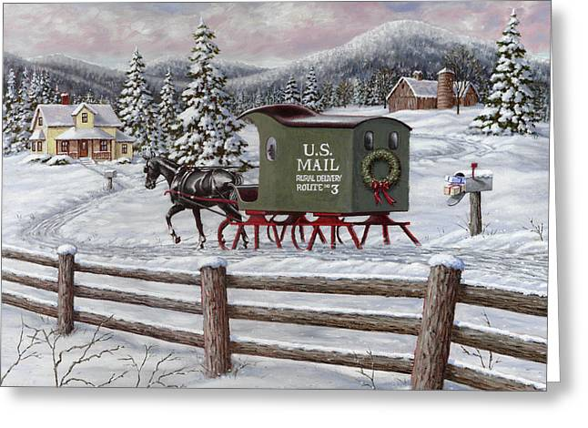 Christmas Greeting Greeting Cards - Across the Miles Greeting Card by Richard De Wolfe