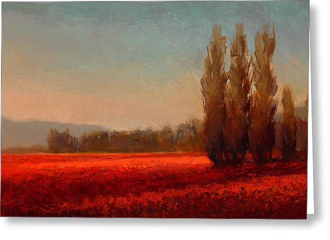 Lady Washington Greeting Cards - Across The Tulip Field - Impressionistic Landscape Sunset Greeting Card by Karen Whitworth