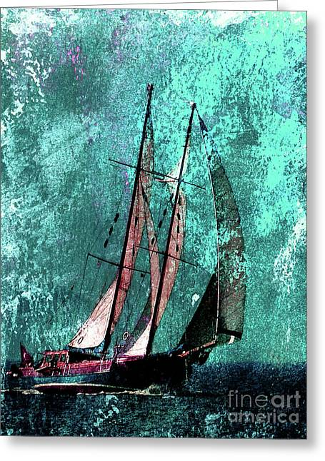 Across The Turquoise Sea Greeting Card by Callan Percy