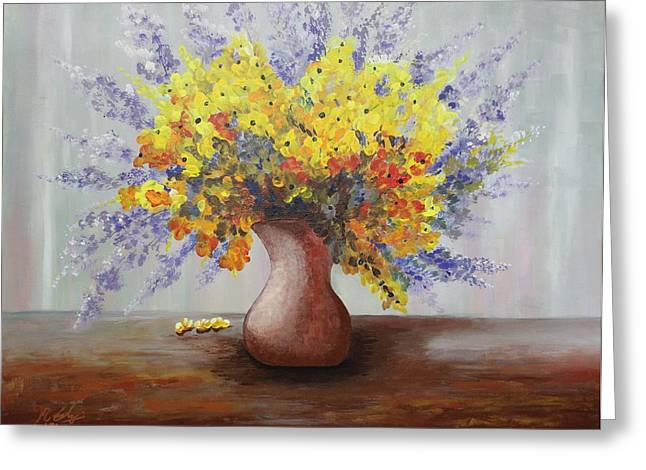 Flower Still Life Prints Greeting Cards - Acrylic MSC 028  Greeting Card by Mario Sergio Calzi