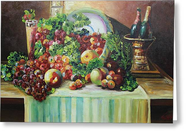 Table Wine Greeting Cards - Acrylic MSC 128 Greeting Card by Mario Sergio Calzi
