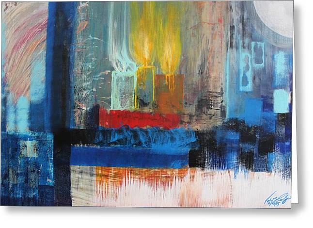 Candle Lit Greeting Cards - Acrylic MSC 228 Greeting Card by Mario Sergio Calzi