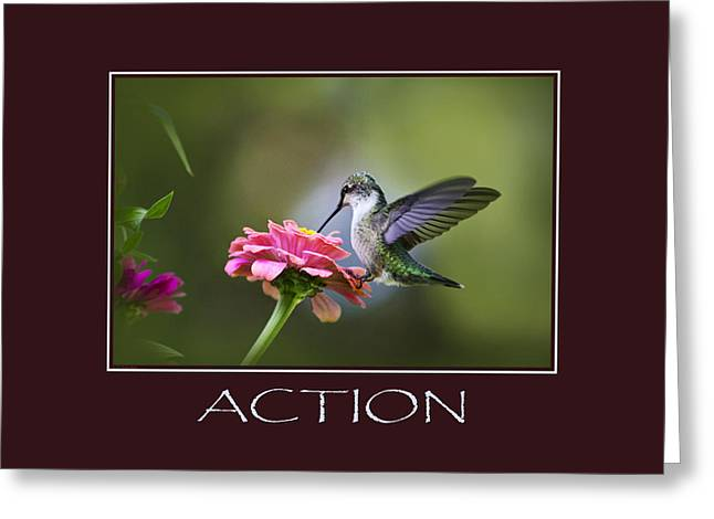 Action Inspirational Motivational Poster Art Greeting Card by Christina Rollo