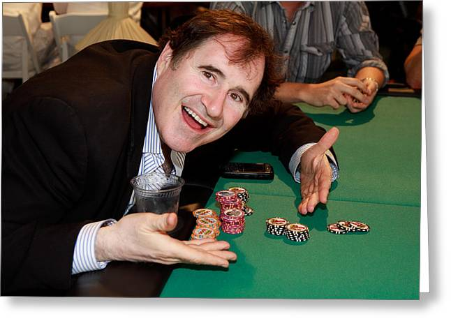 Fund Raising Greeting Cards - Actor Richarad Kind playing poker Greeting Card by Vivian Frerichs
