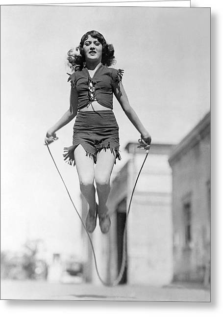 Actress Jumping Rope Greeting Card by Underwood Archives