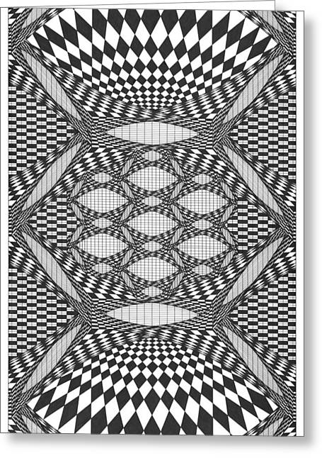 Optical Art Drawings Greeting Cards - Ad Infinitum Greeting Card by Roger Hampel