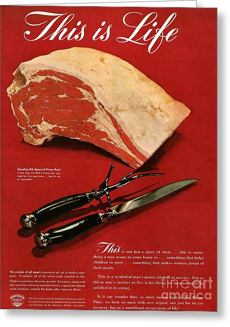 1945 Greeting Cards - Ad: Meat, 1945 Greeting Card by Granger