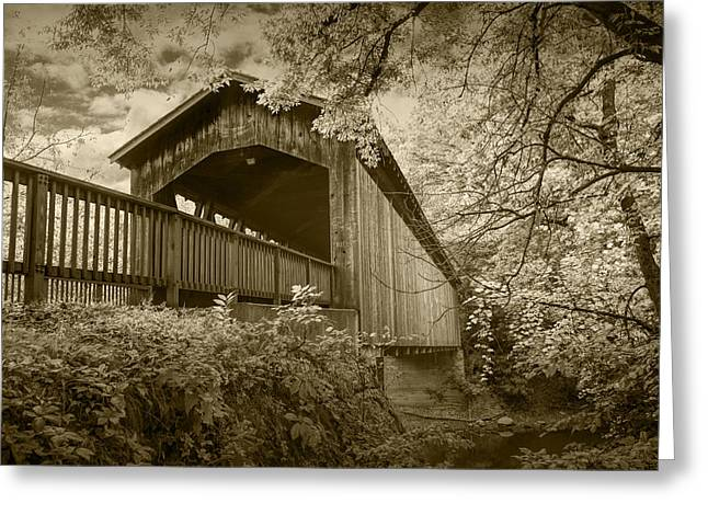 Old Roadway Greeting Cards - Ada Covered Bridge in Sepia Greeting Card by Randall Nyhof