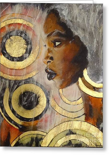 Gold Earrings Greeting Cards - Adaeze the KIngs daughter Greeting Card by Victoria Rosenfield