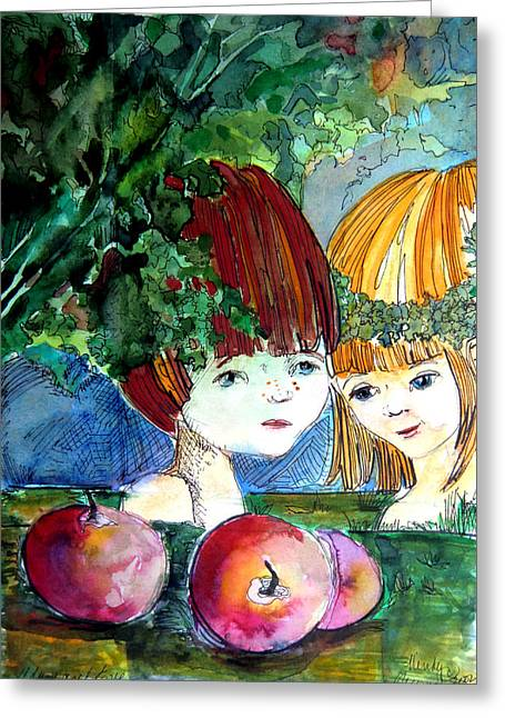 Posters Of Women Drawings Greeting Cards - Adam and Eve Before the Fall Greeting Card by Mindy Newman