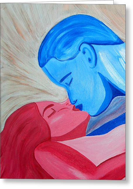 Romance Mixed Media Greeting Cards - Adam and Eve Close Up Greeting Card by Angelina Vick
