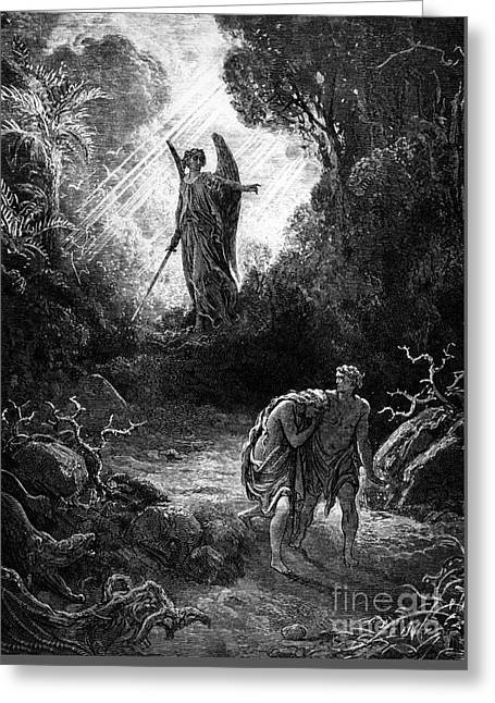 Adam And Eve Leaving Paradise Greeting Card by Gustave Dore