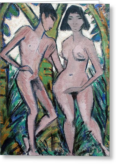 Adam And Eve Greeting Card by Otto Mueller
