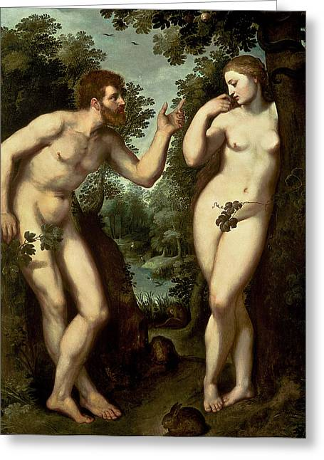 1640 Greeting Cards - Adam and Eve Greeting Card by Peter Paul Rubens