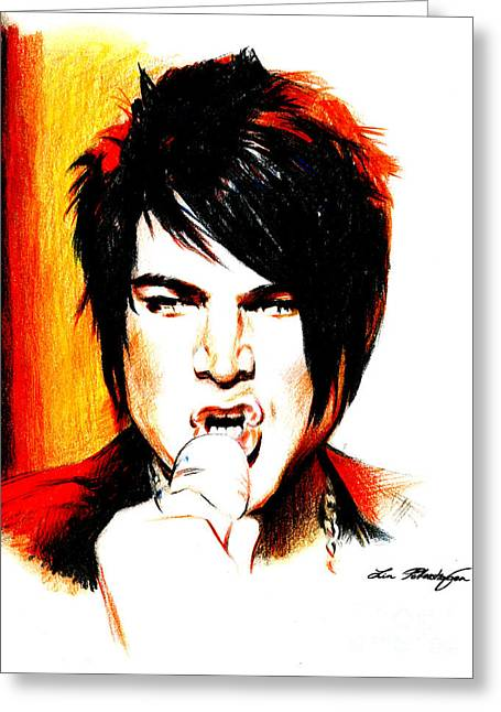 Adam Greeting Cards - Adam Lambert Greeting Card by Lin Petershagen