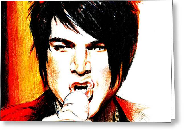 Adam Lambert Greeting Card by Lin Petershagen