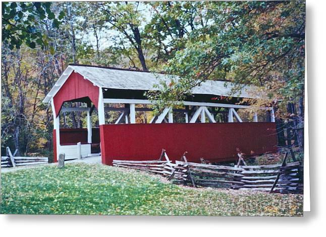 Photos With Red Greeting Cards - Adam Millers Bridge Greeting Card by Penny Neimiller