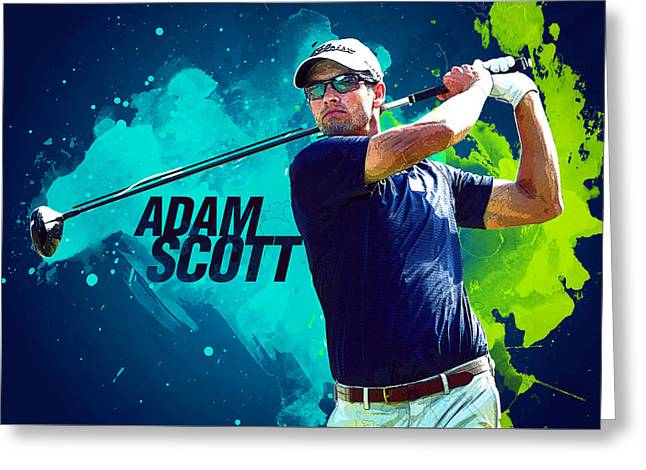 Adam Scott Greeting Card by Semih Yurdabak